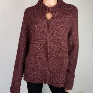 J JILL💟Cable Knit Zip Down Sweater Jacket Large